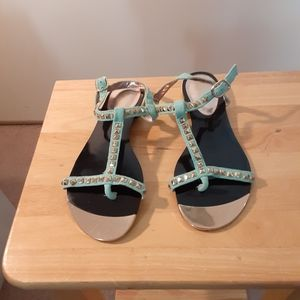 3X25.  Paprika Blue Silver Studded Sandals